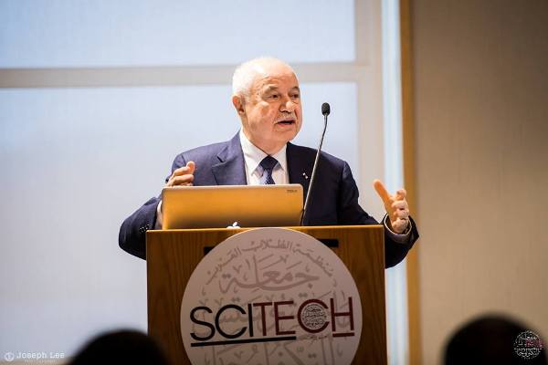 Abu-Ghazaleh delivers concluding remarks at MIT's SciTech conference, meets Arab students at institute
